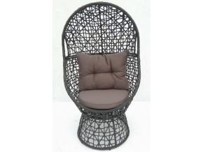 DAISY POLYRATTAN (in schwarz) Relax-Sessel, Korbsessel, 360° drehbar, inkl. 2 Kissen
