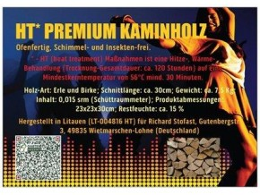 1 x HT* Premium Netz Sack ca. 7,5kg Kaminholz, Brennholz, HT-trocken