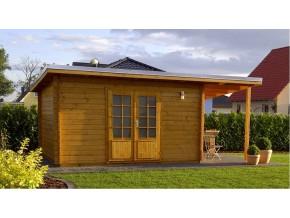 Gartenhaus MARCEL - 4,18 x 3,48m mit Schleppdach und Boden, Flachdach