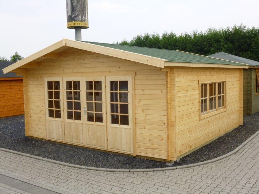 Gartenhaus HUGO 54   5,0 x 4,0m + 3m Terrasse und Fussboden Paket