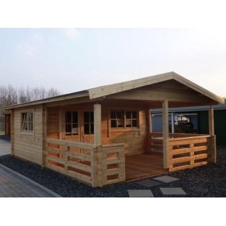 Gartenhaus HUGO 55 - 5,0 x 5,0m + 3m-Veranda mit Fussboden-Paket