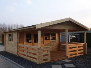 Gartenhaus HUGO 54 - 5,0 x 4,0m + 3m Terrasse und Fussboden-Paket