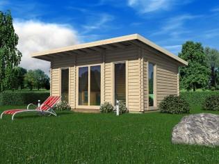 Wochenendhaus Ferienhaus Blockhaus 18,8m² mit lasierten Fenstern und Türen im Wunschfarbton