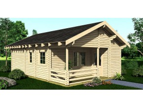 Wochenendhaus Ferienhaus Blockhaus 44,1m² mit lasierten Fenstern und Türen im Wunschfarbton