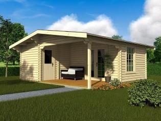 Wochenendhaus Ferienhaus Blockhaus 37,9m² mit lasierten Fenstern und Türen im Wunschfarbton