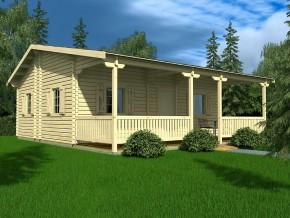 Wochenendhaus Ferienhaus Blockhaus 41,7m² mit lasierten Fenstern und Türen im Wunschfarbton