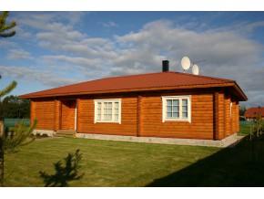 190mm Durchmesser Rundholz Ferienhaus Blockhaus 89,9m² mit lasierten Fenstern und Türen im Wunschfarbton