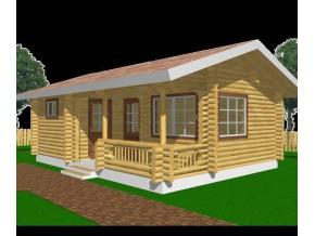 190mm Durchmesser Rundholz Ferienhaus Blockhaus 30,4m² + 6,8m² Terrasse mit lasierten Fenstern und Türen im Wunschfarbton