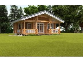 190mm Durchmesser Rundholz Ferienhaus Blockhaus 33,1m² + 20,5m² L-Form Terrasse, Fenstern, Türen im Wunschfarbton