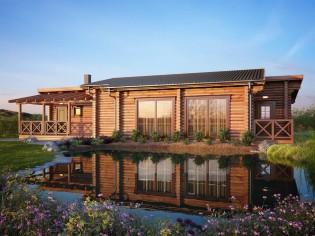 190mm Durchmesser Rundholz Ferienhaus Blockhaus 79,4m² + 27,3m² Terrasse mit lasierten Fenstern und Türen im Wunschfarbton