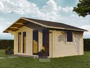 Gartenhaus EMSLAND 5,0 x 3,7m in 70mm Wandstärke, mit 28mm Fußboden, Doppel-, Isolierverglasung
