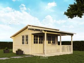 Gartenhaus GLORIA - 4,20 x 3,50m + 2m-Terrasse und Boden