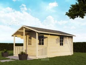 Gartenhaus NORA - 3,80 x 3,80m + 1,30m-Terrasse mit Boden