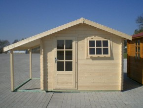 Gartenhaus RIMINI - 3,00 x 3,50m plus 1,20x3,50m Schleppdach und Boden
