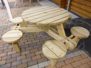 Sitzgruppe LINDA - Tisch mit integrierten 6 Stühlen, kesseldruckimprägniert, fertig montiert
