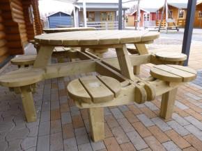 Sitzgruppe MARKUS - Tisch mit integrierten 8 Stühlen, kesseldruckimprägniert, fertig montiert