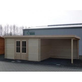 Gartenhaus KÖLN 4,0 x 3,0m + 3m Terrasse, mit Boden