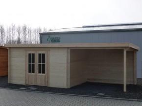 Gartenhaus KÖLN 4,0 x 3,0m + 3m Terrasse, mit Boden, Flachdach