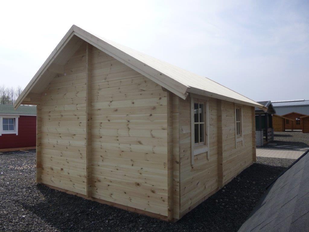 blockhaus twist 4 0 x 6 0m mit 2 r umen und schlafboden. Black Bedroom Furniture Sets. Home Design Ideas