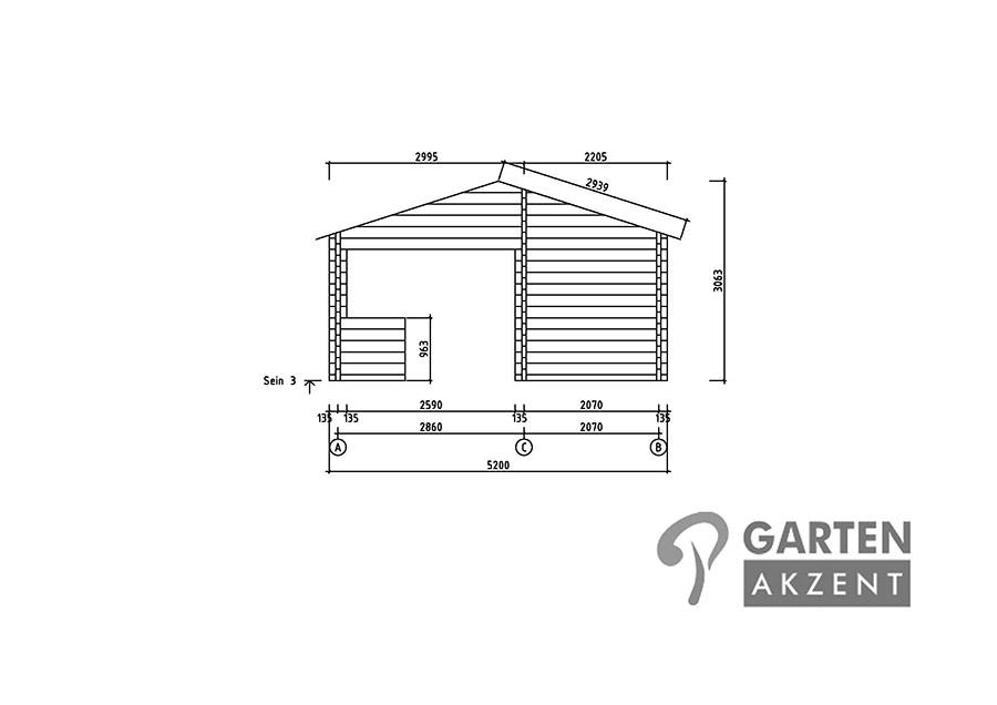 garten akzent wochenendhaus ferienhaus blockhaus mit 2 r umen und theke simone ca 32 m in. Black Bedroom Furniture Sets. Home Design Ideas