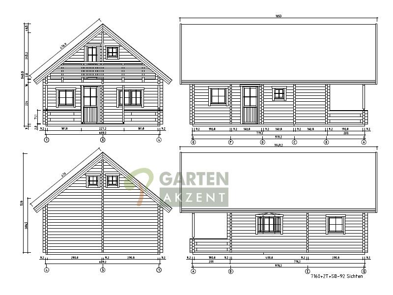 garten akzent wochenendhaus ferienhaus blockhaus zwiesel 90mm wandst rke mit terrasse und balkon. Black Bedroom Furniture Sets. Home Design Ideas